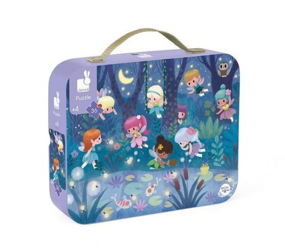 Puzzle w walizce – Wróżki i lillie wodne, 36 elementów (Janod)