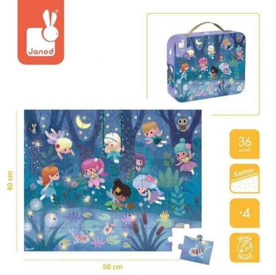 Puzzle w walizce - Wróżki i lillie wodne, 36 elementów (Janod)